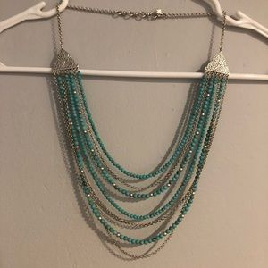 LUCKY BRAND Turquoise and silver layered necklace